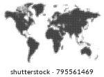 world map halftone. stylized... | Shutterstock .eps vector #795561469