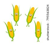 set with cartoon corn on a... | Shutterstock .eps vector #795563824