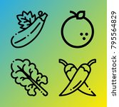 vegetarian vector icon set... | Shutterstock .eps vector #795564829