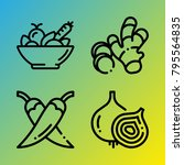 vegetarian vector icon set... | Shutterstock .eps vector #795564835
