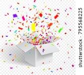 open gift box and confetti.... | Shutterstock .eps vector #795568225