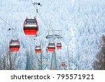 red gondola car lift on the ski ... | Shutterstock . vector #795571921