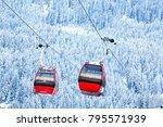 red gondola car lift on the ski ... | Shutterstock . vector #795571939