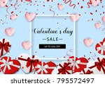 valentine s day sale. blue... | Shutterstock .eps vector #795572497