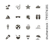 sea travel icons. perfect black ... | Shutterstock .eps vector #795576181