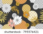 golden and silver floral... | Shutterstock .eps vector #795576421
