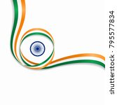 indian flag wavy abstract...   Shutterstock .eps vector #795577834