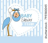 baby shower. stork with baby boy | Shutterstock .eps vector #795583045