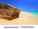 amazing caribbean sea beach in... | Shutterstock . vector #795590029