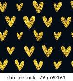 golden heart pattern. seamless... | Shutterstock .eps vector #795590161