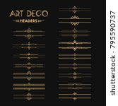 set of art deco dividers and... | Shutterstock .eps vector #795590737