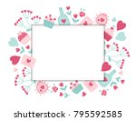 valentine greeting card with... | Shutterstock .eps vector #795592585