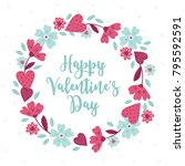 valentine wreath with leaves ... | Shutterstock .eps vector #795592591