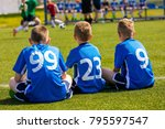 children soccer team watching... | Shutterstock . vector #795597547