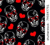 seamless pattern with skulls. ... | Shutterstock .eps vector #795597751
