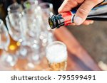 wedding glasses filled with...   Shutterstock . vector #795599491