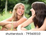 friends sat outside laughing | Shutterstock . vector #79560010