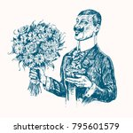 elegant gentleman holding gift... | Shutterstock .eps vector #795601579