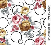 vintage seamless pattern with... | Shutterstock . vector #795603004