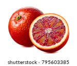 whole red blood orange and half ...   Shutterstock . vector #795603385