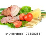 meat smoked bacon with lettuce - stock photo