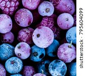 Small photo of frozen berries, black currant, red currant, raspberry, blueberry. top view. macro.