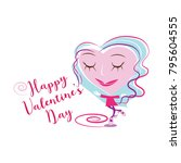 happy valentine's day greeting... | Shutterstock .eps vector #795604555