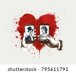 love smartphone  with heart for ... | Shutterstock .eps vector #795611791