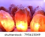 salt lamps  pink color | Shutterstock . vector #795615049