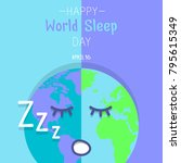 happy world sleep day poster.... | Shutterstock .eps vector #795615349