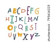 vector painted font  funny... | Shutterstock .eps vector #795616225