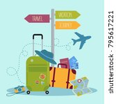 travel items and pointer... | Shutterstock .eps vector #795617221