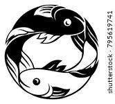 zodiac signs circular pisces... | Shutterstock .eps vector #795619741