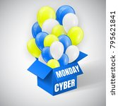 cyber monday sale poster with... | Shutterstock .eps vector #795621841
