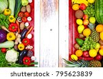 fresh fruits and vegetables... | Shutterstock . vector #795623839
