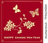 happy new chinese year card... | Shutterstock .eps vector #795624004