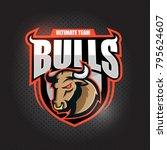 angy  bull head.  emblem  ...   Shutterstock .eps vector #795624607