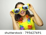 girl ready for carnival party.... | Shutterstock . vector #795627691