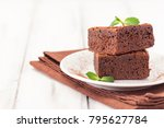 chocolate brownie square pieces ... | Shutterstock . vector #795627784