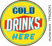 vintage metal sign   cold... | Shutterstock .eps vector #795628291