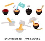 step by step instant and udon... | Shutterstock .eps vector #795630451
