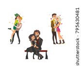 vector cute young couples in... | Shutterstock .eps vector #795630481