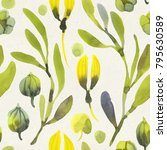 seamless watercolor floral... | Shutterstock . vector #795630589