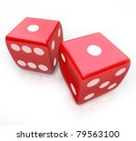 Постер, плакат: Two red dice with