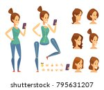 young girl with phone... | Shutterstock .eps vector #795631207