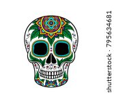 mexican sugar skull with floral ... | Shutterstock .eps vector #795634681