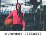 Young female basketball player...