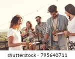 group of young friends having... | Shutterstock . vector #795640711