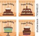 happy birthday cake vector   Shutterstock .eps vector #795648115