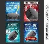 ice hockey poster set vector....   Shutterstock .eps vector #795649714